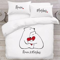 Love bears gift Bear bedding Couples gift Love gift Anniversary bedding Romantic gifts Custom bedding set Personalized bedding for couples  In the set: - 1 duvet cover (with zipped closure) - 2 pillowcases (Remember to let us know about your chosen pillowcase sizes!)  Beautiful gift