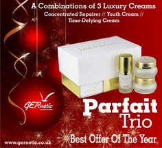Luxurious Special Offer: All three Les Parfaits products in one beautiful box. What an amazing present! Face Products, Christmas Presents, Parfait, Anti Aging, Skincare, Place Card Holders, Box, Amazing, Beautiful
