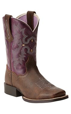 Ariat Quickdraw Youth Tombstone Vintage Brown w/ Plum Top Square Toe Boots Horse Boots, Cowgirl Boots, Western Boots, Cowboy Boot, Western Style, Cute Shoes, Me Too Shoes, Over Boots, Country Boots