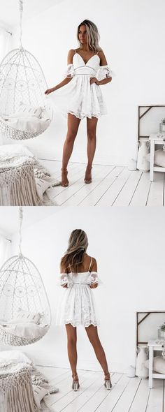Short White Lace Homecoming Dress, Short Prom Dresses with Lace, Spaghetti Straps Party Dresses
