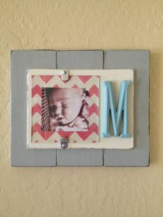 3x5 Distressed Picture Frame with Initial by LuvMeDeux on Etsy, $29.00
