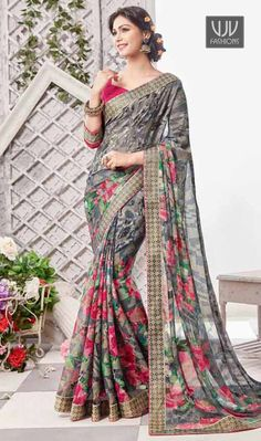 Intrinsic Print Work Multi Colour Designer Saree Elegance and honourable come together in this beautiful drape. Looking amazing with attachment of multi colour faux crepe, georgette and silk designer saree. Beautified with patch border and print work all synchronized well with the pattern and design of the attire. Comes with matching blouse
