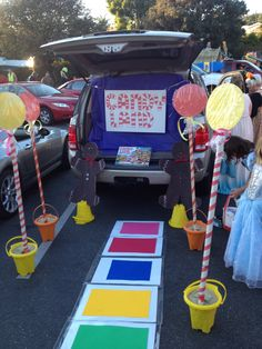 Candy Land Trunk or Treat! With Cushnie-Wescott Halloween Costumes For Work, Halloween Party Games, Halloween Themes, Halloween Crafts, Halloween Decorations, Halloween 2020, Trunk Or Treat, Trunker Treat Ideas, Harvest Party