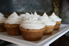 spiced zucchini cupcakes with cinnamon cream cheese frosting.