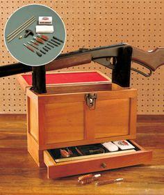 Gunmaster Cleaning Toolbox Gun Rifle Rack Wooden Rack Box Set Case Universal Kit