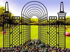 Wrought iron trellis – To fully appreciate your friends, you need to use a garden trellis. Metal Trellis Panels, Wrought Iron Trellis, Arch Trellis, Wrought Iron Gates, Garden Trellis, Outdoor Landscaping, Outdoor Gardens, Garden Structures, Outdoor Structures