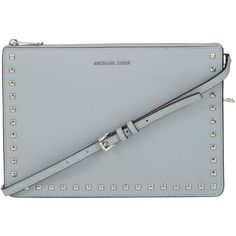 MICHAEL Michael Kors Ava Studded Large Convertible Leather Clutch,... ($200) ❤ liked on Polyvore featuring bags, handbags, clutches, leather man bags, evening clutches, man shoulder bag, leather shoulder bag and leather purses