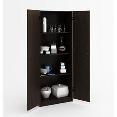 Keep your stuff concealed in this attractive storage cabinet from Ameriwood. Perfect in any room that needs more storage space, the cabinet offers ample room for large and small items. Its sleek Black Forest (Espresso) finish makes it a stylish addition to any space, in the home or at the office. Use the storage
