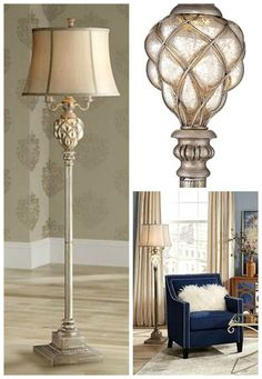 A beautiful traditional design, this 4-light floor lamp is highlighted by a caged mercury glass accent at the neck. An LED night light glows from within the font, and is perfect as an accent light during the darker hours.