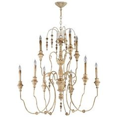 Maison French Country Antique White  9 Light Chandelier 37.5x40 $678