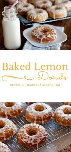 A light, fluffy baked lemon donut drizzled with a tart lemon glaze.