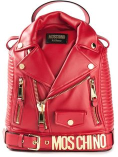 Moschino Biker Backpack shared by Havas Eva on We Heart It Fashion Handbags, Fashion Bags, Fashion Accessories, Leather Clutch Bags, Leather Backpack, Cute Purses, Purses And Bags, Zapatillas Louis Vuitton, Unique Bags