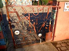 This is the entry gate to a childrens' garden at the Oregon Gardens in Silverton, Oregon.  It is such a cool collection of random things all welded together.