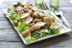 Grilled chicken kebab caesar salad