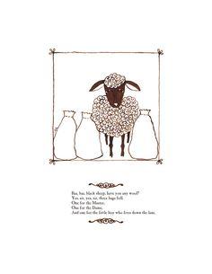 Nursery Rhyme Decor Print  Baa Baa Black Sheep by pictureatale, $11.99