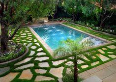 Decoração, bonito concepção de piscinas para Pequenas quintal com grama verde único: pequeno quintal paisagismo ideias com Piscina