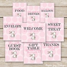 Pink Bunny Baby Shower Table Signs Printable by AspenJayDesigns
