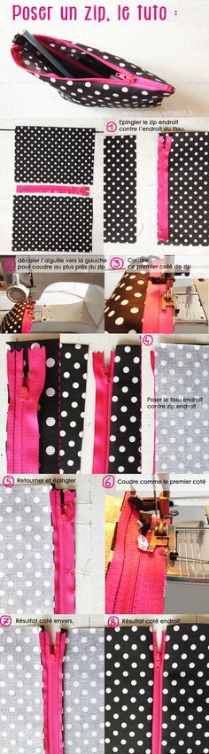 Tu tuto pour poser un zip (et faire une trousse) www. Sewing Projects For Beginners, Sewing Tutorials, Sewing Crafts, Sewing Patterns, Techniques Couture, Sewing Techniques, Creation Couture, Couture Sewing, Diy Fashion
