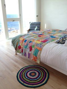 Fogo Island Inn - colorful yet simple bedroom Sky Blue Paint, Fogo Island Inn, Bright Quilts, Interior And Exterior, Interior Design, Upstairs Bedroom, Large Furniture, Simple House, Home Decor Bedroom