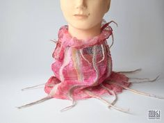 Red and beige wet felted scarf colourful spring cotton and