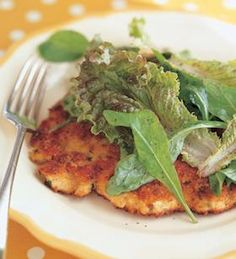 MY GO-TO WEEKNIGHT DINNER! Parmesan Chicken. Pound the chicken breast thin, dip it in egg, bread crumbs, and parmesan cheese..Then sauté it for 6 min until the chicken is cooked and has a crispy crust.. Make a small salad dressed with lemon vinaigrette on top,, Dinner in one dish , and its so good...