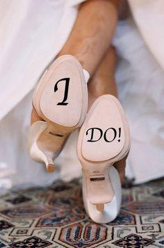 I DO - Wedding Shoe Personanlized Vinyl Decal #Valentines day inspiration #I DO wedding shoes www.dreamyweddingideas.com