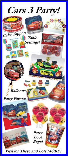 All the supplies you need for a Cars Party!