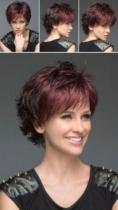 Bem na foto: cortes de cabelo curto repicado para senhoras, shortpurplehair Short Hairstyles For Thick Hair, Cute Short Haircuts, Short Hair With Layers, Short Hair Cuts For Women, Medium Hair Cuts, Short Curly Hair, Curly Hair Styles, Braided Hairstyles, Ladies Hairstyles