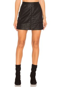 BLANKNYC Lace Up Faux Leather Skirt in Boy's Soul