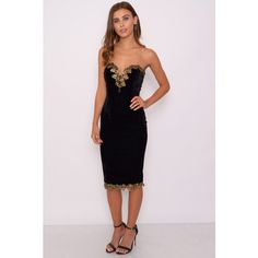 433e83d4458f2 Rare London Black Velvet Sweetheart Midi Dress ($76) ❤ liked on Polyvore  featuring dresses