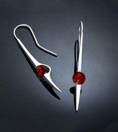garnet earrings - dangle earrings - red - Argentium silver jewelry - bold - January birthstone - Mozambique garnet - modern - 2444