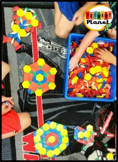 Pattern block centers and Pattern Block activities in my classroom with a fun freebie. Fun Math Games, Work Activities, What Is Pattern, Classroom Routines And Procedures, Shape Names, Math Blocks, Teaching Shapes, Block Center, Math Tools