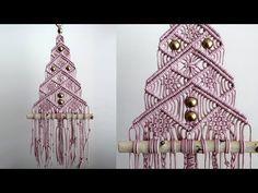 Macrame Christmas Tree No. 3 / Macrame Tree # 3 - Drawing Still 2020 Macrame Wall Hanging Patterns, Macrame Patterns, Macrame Knots, Macrame Art, Macrame Modern, Ribbon On Christmas Tree, Christmas Crafts, Homemade Christmas, Xmas