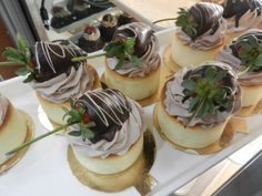 Cheesecake with chocolate mousse and a chocolate-dipped strawberry!