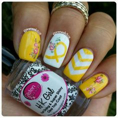 July is Sarcoma Awareness Month and my good friend Jayne @starryeyed83 asked me to help bring awareness because our friend Fiona @fee1987 is a Sarcoma Survivor.  Let's all show our support and get those yellow manis rolled out! polish used @dripdropnailpaint Tighty Whities and Jordana Mellow Yellow and chevron vinyls from @whatsupnails. water decals are from @bornprettystore