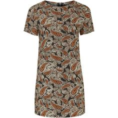 TOPSHOP **Printed Shift Dress by Glamorous ($42) ❤ liked on Polyvore featuring dresses, black, paisley print dress, topshop dresses, zipper dress, shift dress and glamorous dresses