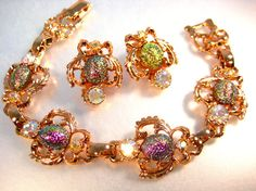 Gorgeous Vintage Art Glass and Rhinestone Demi by zoeJaneJewels1, $35.00