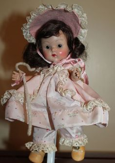 Vintage VOGUE GINNY 8 INCH TINY MISS DOLL early 1950s painted lashes strung body #Dolls