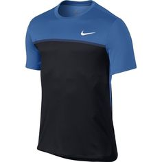 Nike Court Challenger Crew Tennis Shirt Mens XL Blue Spark Black 800248 446 #Nike #ShirtsTops