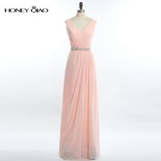 ee6721d442169 Find More Bridesmaid Dresses Information about Honey Qiao Sheath Pink Chiffon  Bridesmaid Dresses 2017 V Neck