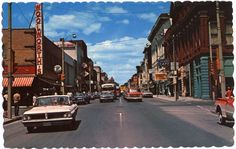 Circa: postcard of George Street, Peterborough, Ontario. Peterborough Canada, Local History, Family History, Canada Travel, Vintage Postcards, Street View, City, Charlotte, Youth