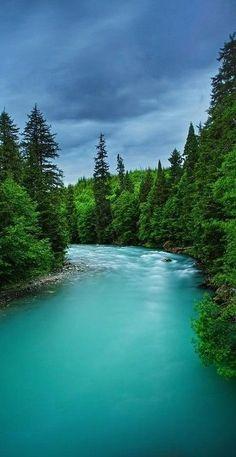 Beautiful turquoise waters of the Wedeene River near Kitimat in British Columbia, Canada • photo: Doug Keech on FineArtAmerica