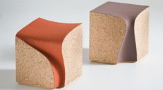 Winery inspired + ergonomically sexy cork seating; the Eroded Stool by I M Lab, London.