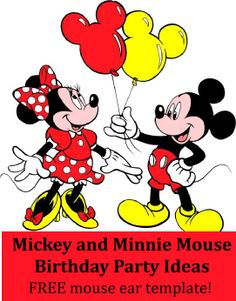 Mickey and Minnie Mouse Birthday Party Theme Ideas / Minnie and Mickey Mouse birthday party theme ideas. Mickey and Minnie themed games, activites, favors, food, invitations, decorations and more! FREE mouse ears printable to use for goody bags, banners, invitations, etc.  http://www.birthdaypartyideas4kids.com/mickey-minnie.htm