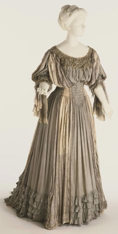 Philadelphia Museum of Art - Collections Object : Woman's Dressing Gown (Tea Gown) 1906  Medium: Plain weave silk, printed loose/dense striped silk plain weave, lace, and silk net