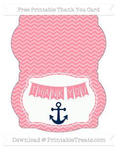 Free Salmon Pink Chevron Nautical Thank You Card