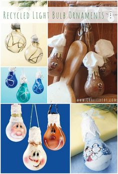 Craft Ideas DIY recycled light bulb ornaments