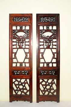 This Pair of Authentic Antique Chinese Screen Panels was originally made for inside window decoration in Buddhist's Temples,(like shutters). The Panels were collected from demolished Buddhist's Temple