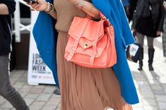 Camel, blue and a beautiful, coral Proenza Schouler bag  #style #fashion #camel