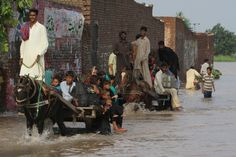 SEARCHING FOR HIGHER GROUND: Flood victims traveled in Kala Shah Kaku, near Lahore, Pakistan, Sunday. (K.M. Chaudary/Associated Press)